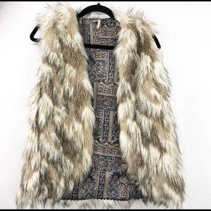 Free People Reversible Faux Fur Vest  Size…